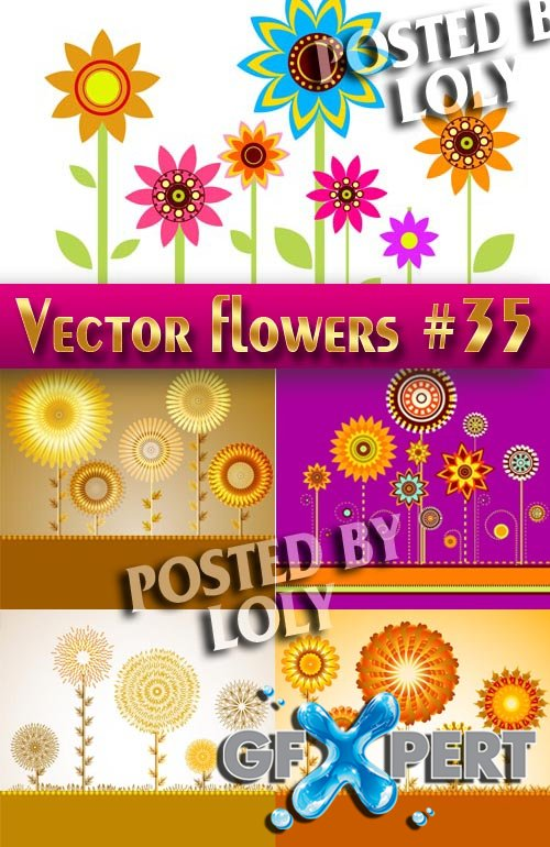 Vector Flowers #35 - Stock Vector