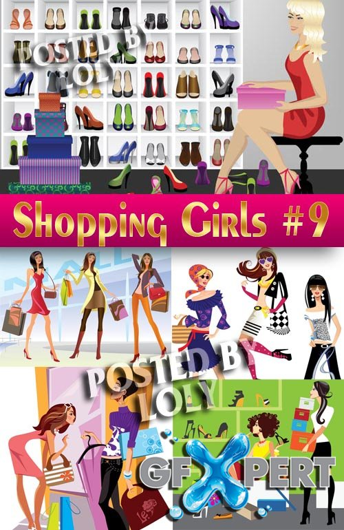 Shopping Girls #9 - Stock Vector