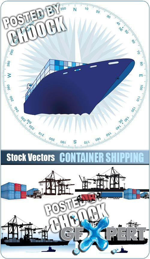 Container shipping - Stock Vector