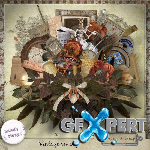 Digital scrap kit - Vintage Sewing