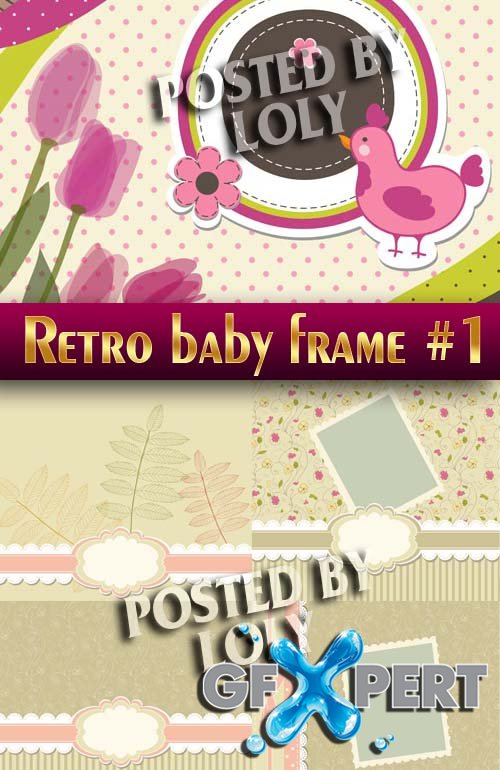 Vintage Baby backgrounds #1 - Stock Vector