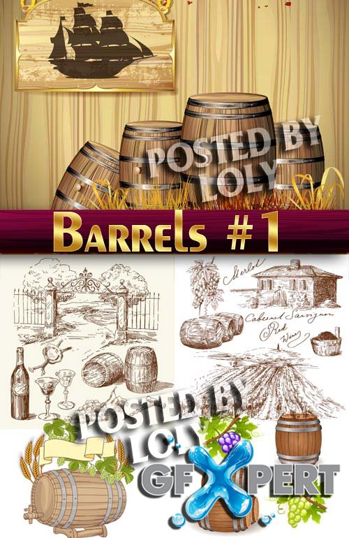 Wooden barrels #1 - Stock Vector