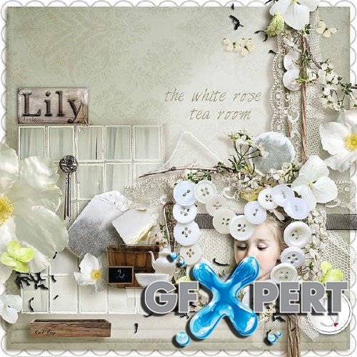 Digital scrapbooking kit - The white rose tea room