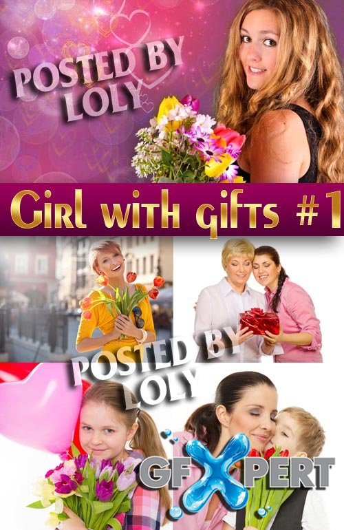 Girl with gifts #1 - Stock Photo