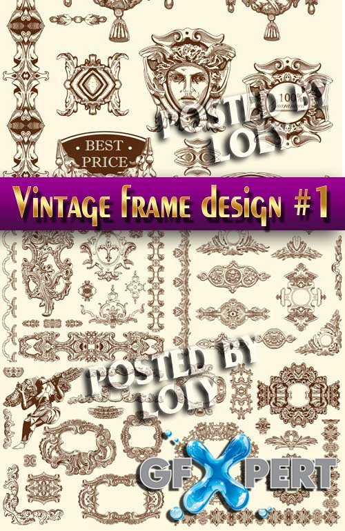 Vintage elements and frame #1 - Stock Vector