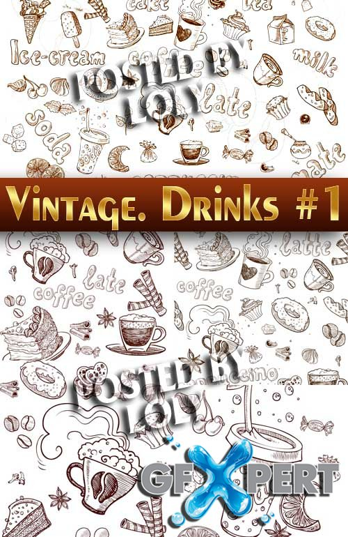 Vintage. Drinks #4 - Stock Vector
