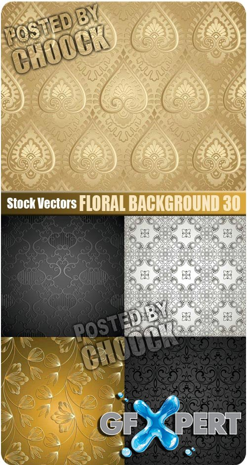 Floral background. Set.30 - Stock Vector