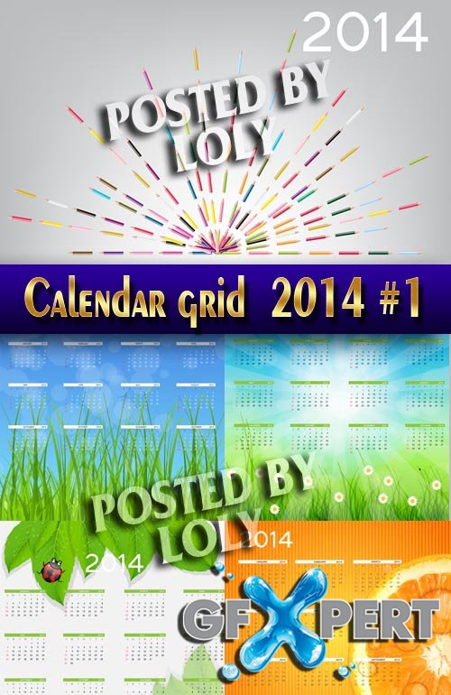Calendar grid 2014 #1 - Stock Vector
