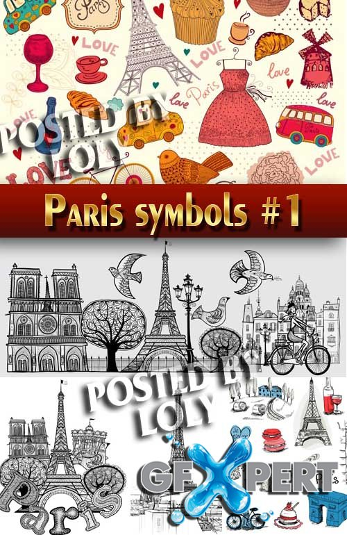Symbols of Paris #1 - Stock Vector