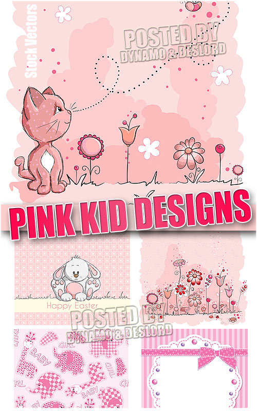 Pink kid designs - Stock vectors
