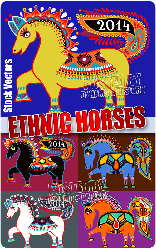 Ethnic horses - Stock Vectors