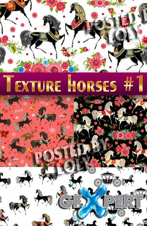 Patterns with horses #1 - Stock Vector
