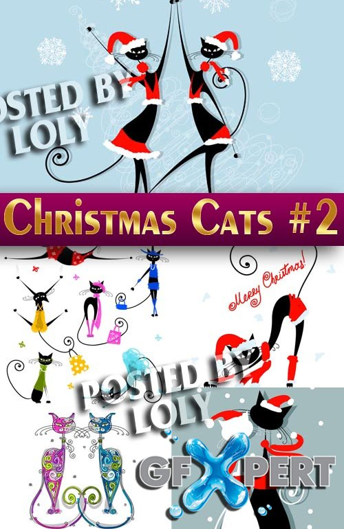 Christmas cats #2 - Stock Vector