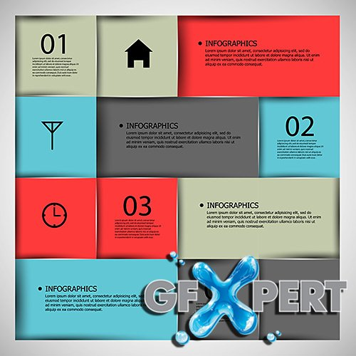 Vector - Abstract paper infographic Set 1