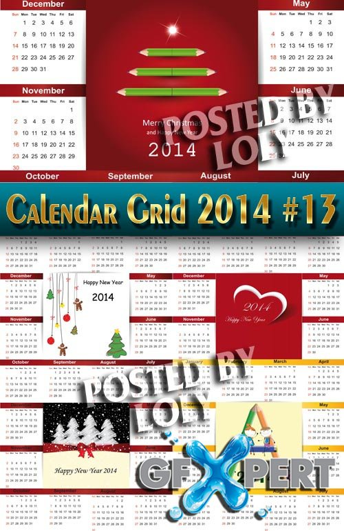 Calendar grid 2014 #13 - Stock Vector