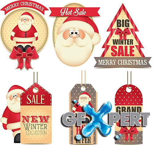 New Year and Christmas stickers - VectorImages