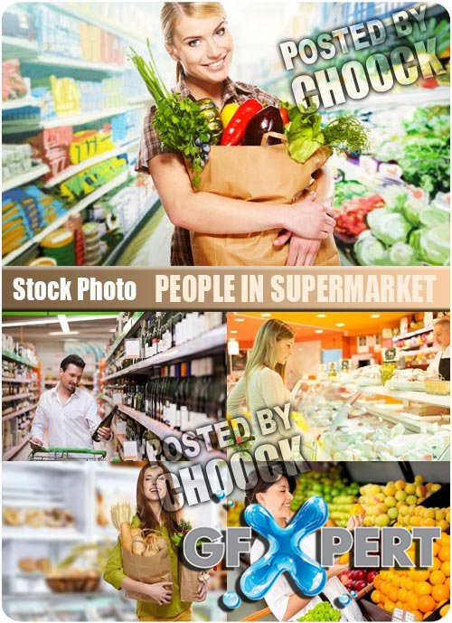 People in supermarket - Stock Photo