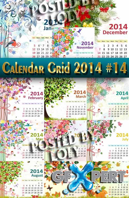 Calendar grid 2014 #14 - Stock Vector
