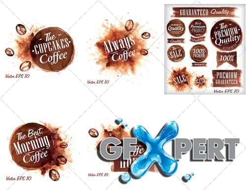 Creative, abstract coffee stains - VectorImages