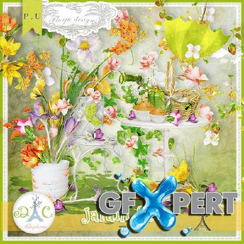 Digital scrapbooking set - Jardin Fleuri