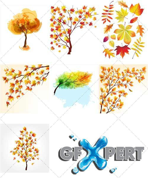 Leaves and silhouettes of trees in autumn - VectorImages