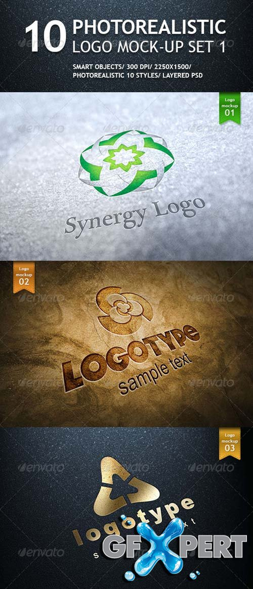 GraphicRiver - 10 Realistic Logo Mockups - Smart Template V.1