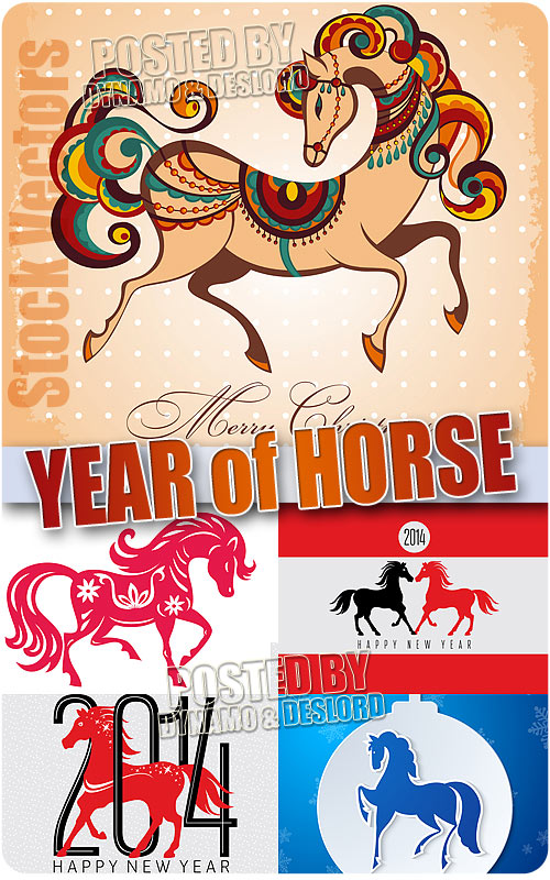 Year of Horse 2014 - Stock Vectors