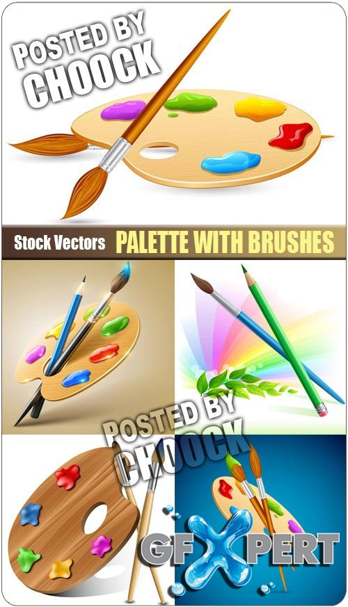 Palette with brushes - Stock Vector