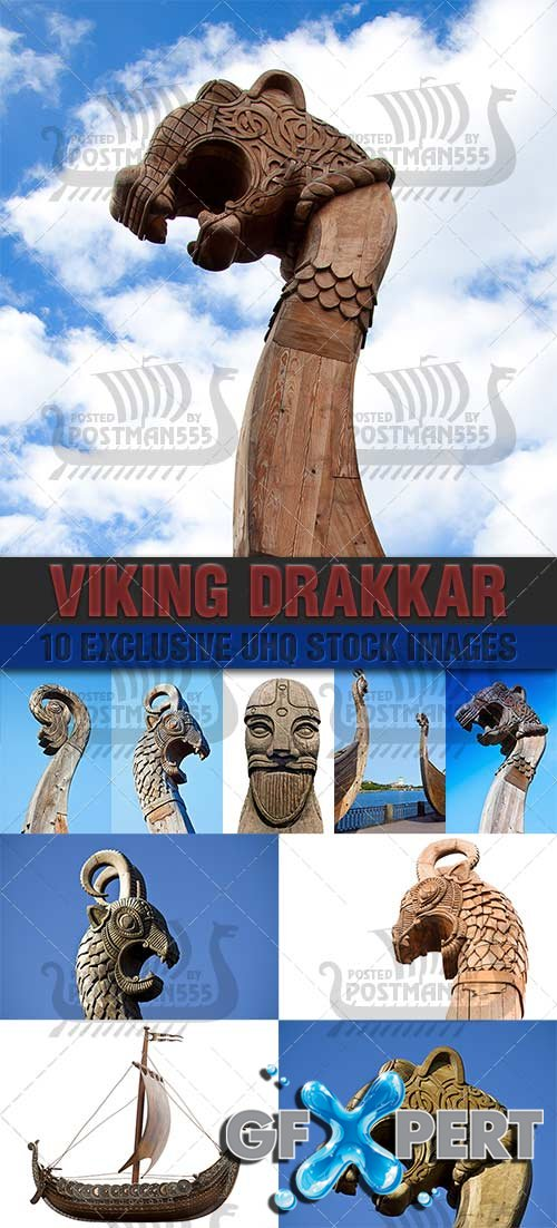 Drakkar - sailing and rowing open boat Viking - PhotoStock