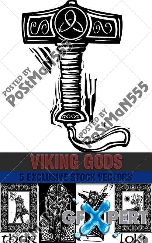 Heroes and Gods Vikings, paganism - VectorImages