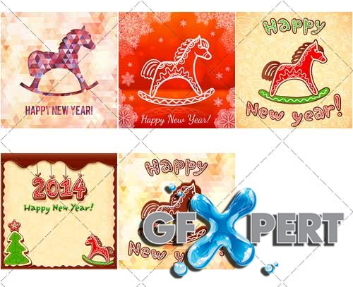 Holiday backgrounds with horse, New year and Christmas - VectorImages