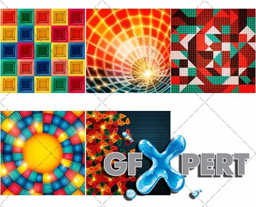Colored in abstract style backgrounds, 2 - VectorImages