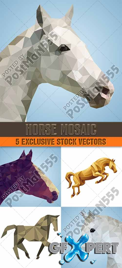 Abstract horse, triangular style - VectorImages
