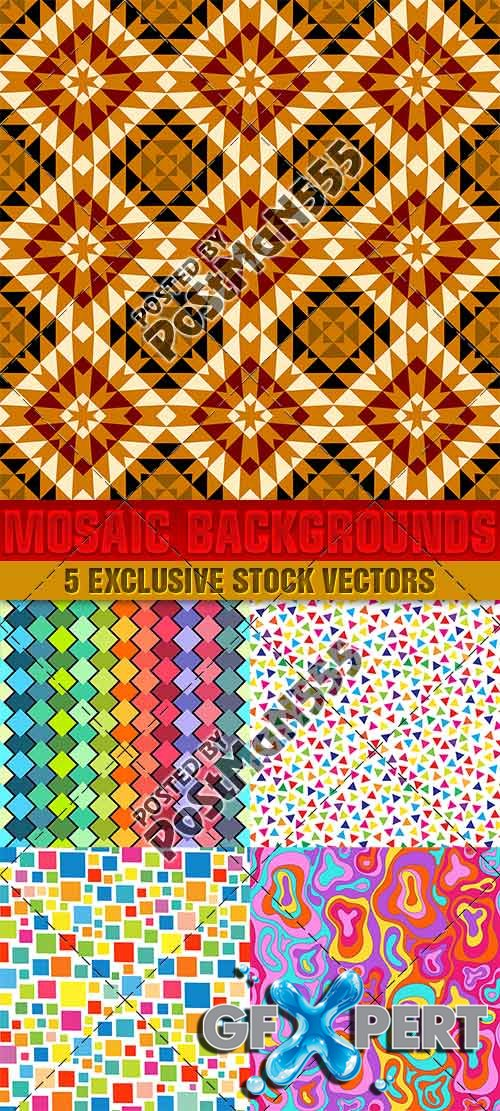 Creative mosaic backgrounds, textures - VectorImages