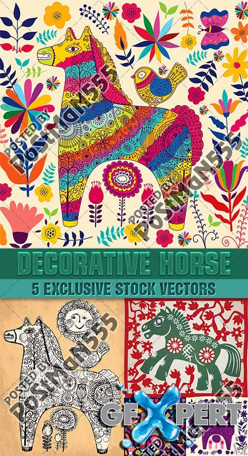 Stylized horse, decorative backgrounds - VectorImages