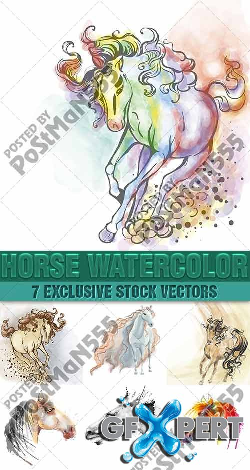 Beautiful picturesque horse watercolor - VectorImages