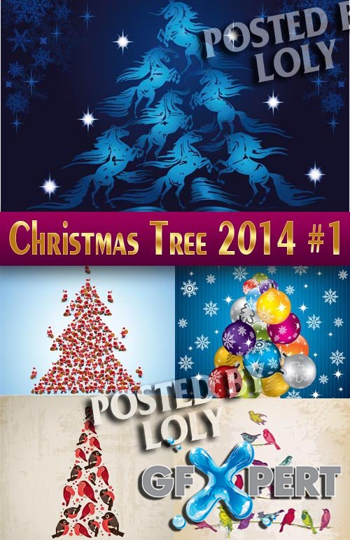 Christmas tree 2014 #1 - Stock Vector