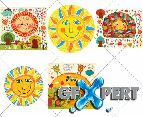 Illustrations fun decorative sun - VectorImages