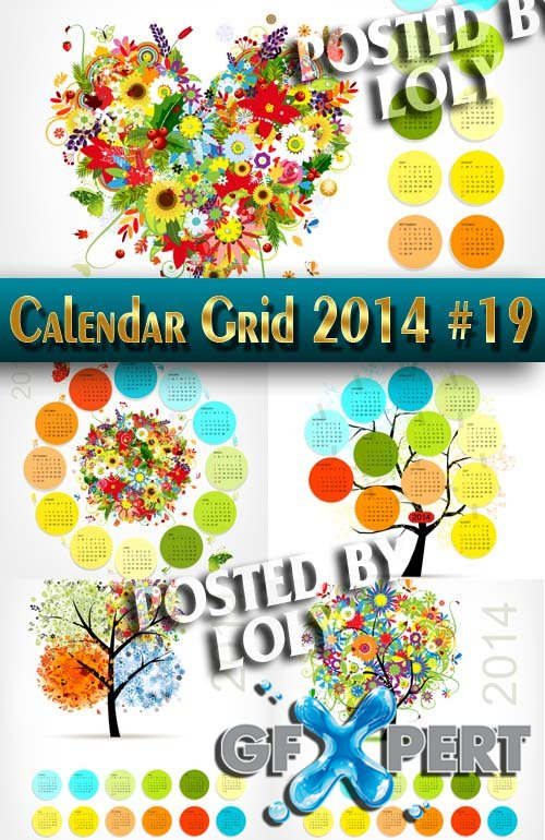 Calendar grid 2014 #19 - Stock Vector