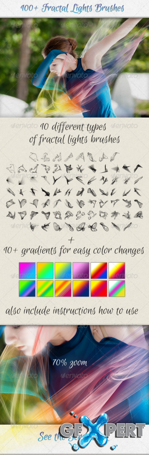 GraphicRiver - 100+ Fractal Lights Brushes for Visual Effects