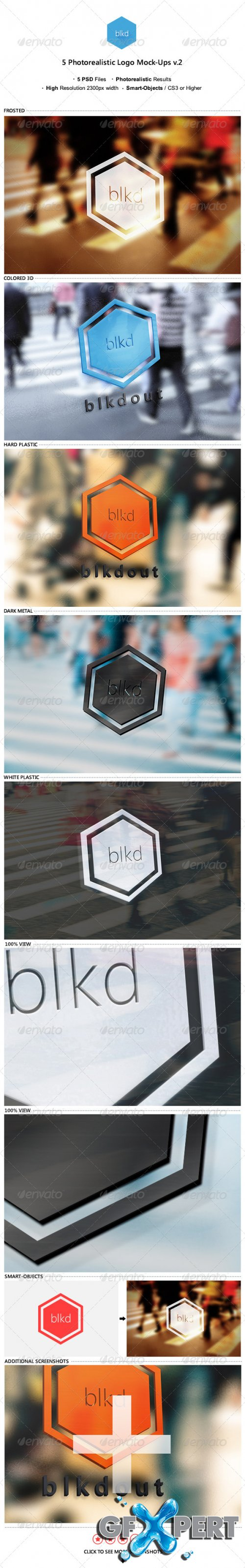 GraphicRiver - 5 Photorealistic Logo Mock-Ups v.2