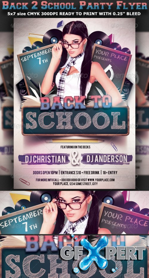 free graphicriver back to school party flyer template v3 download