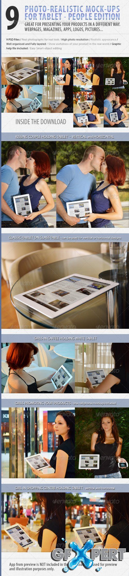 GraphicRiver - 9 photo Tablet mock-ups: People edition