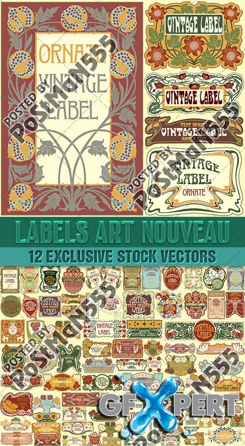 Labels Art Nouveau, Floral ornament - VectorImages