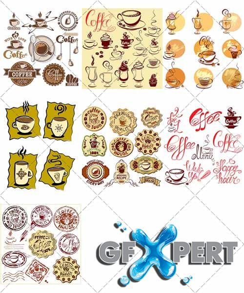 Labels and stickers - Coffee, stylized icons - VectorImages