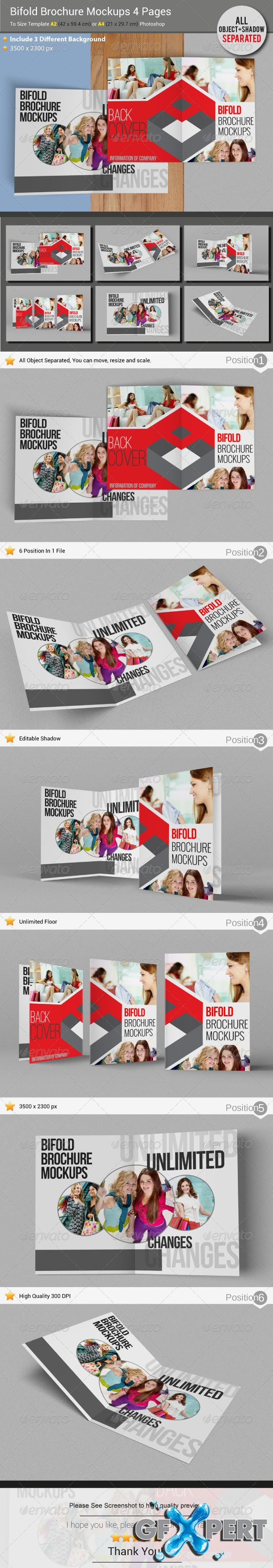 Free GraphicRiver - Brochure Mockups 4 Pages download