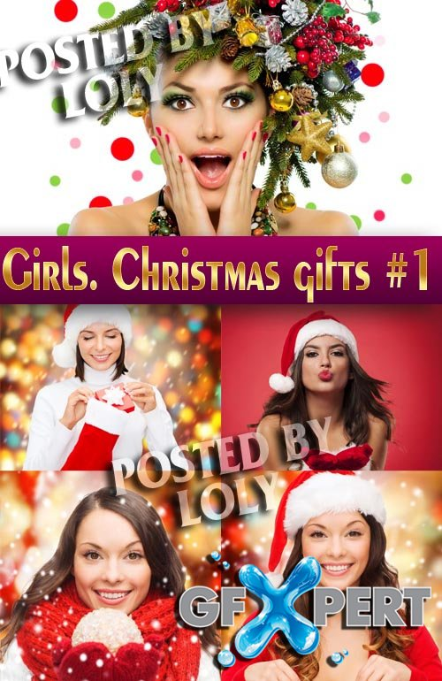 Girls and Christmas Gifts #1 - Stock Photo