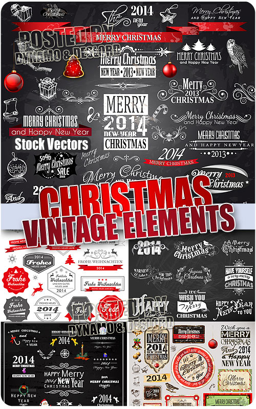 Christmas Vintage Elements - Stock Vectors