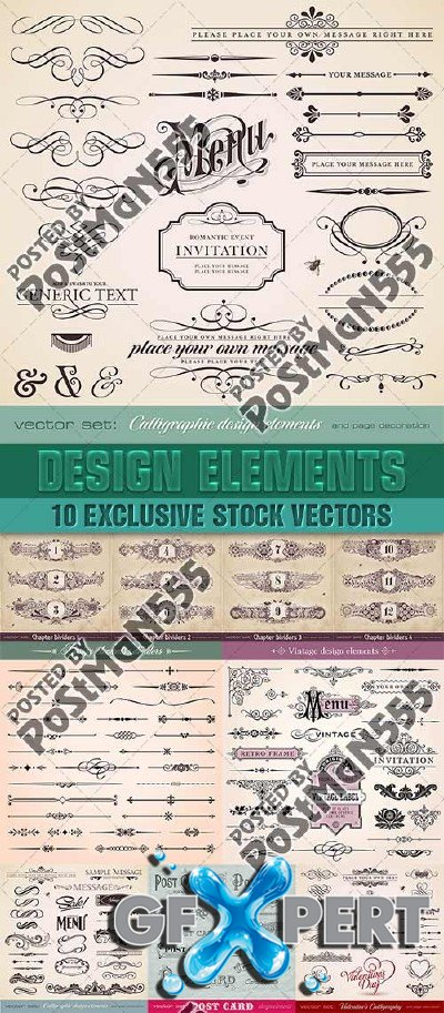 Calligraphic design elements - VectorImages