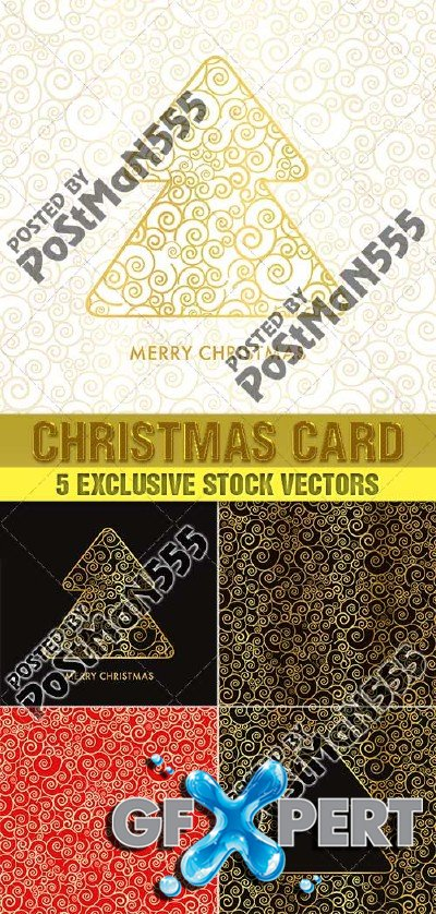 Beautiful golden Christmas cards, backgrounds - Vector